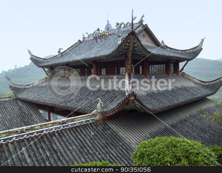 roof at Fengdu County stock photo, decorative roof of a traditional building in a historic district named Fengdu County in China by prill