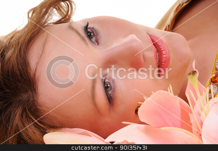 Sensuality glance stock photo, Close-up beauty woman face with lily flowers by Iryna Rasko