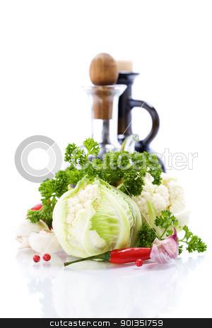 Fresh vegetables stock photo, Fresh vegetables, olive oil and vinegar isolated on white by klenova