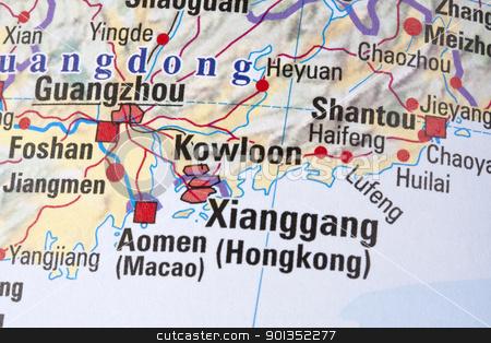Hong Kong stock photo, Hong Kong  China map by Ingvar Bjork
