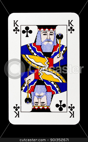 King of clubs stock photo, King of clubs isolated on black by Sasas Design