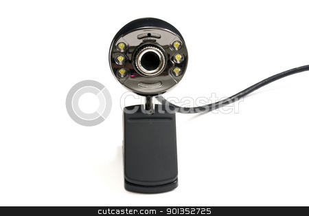 Webcam stock photo, Webcam isolated on white with background. by Ingvar Bjork