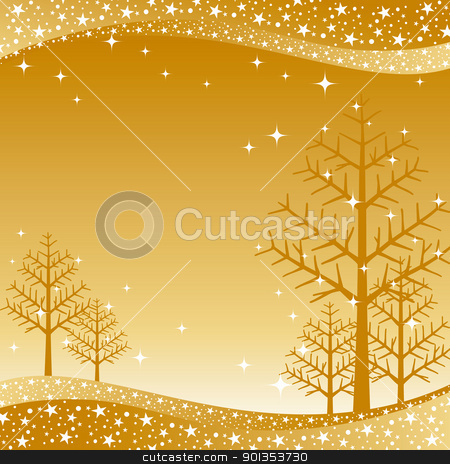 Christmas greeting card stock vector clipart, Christmas greeting card on golden background by meikis