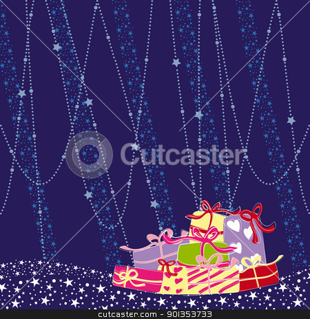 Christmas greeting card colorful present stock vector clipart, Christmas greeting card colorful present on blue background by meikis