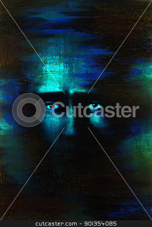 fearful eyes stock photo, picture painted by me named In mind X, it shows a pair of fearful eyes in dark blue and greenish back by prill