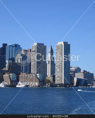 Boston skyline detail in front of blue sky stock photo, waterside detail of the Boston skyline (USA) in sunny ambiance by prill