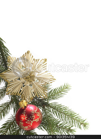decorative christmas back stock photo, christmas decoration with red ornamented christmas tree ball and straw star in white back by prill