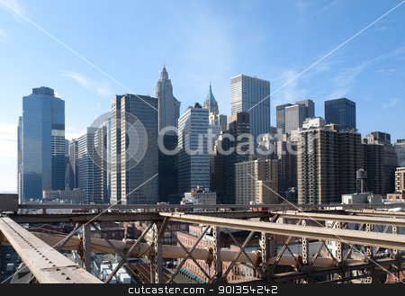 New York skyline stock photo, sunny city view of New York seen from Brooklyn Bridge (USA) by prill