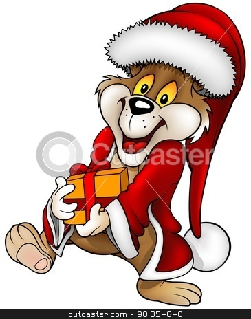 Santa Claus Bear stock photo, Santa Claus Bear and Gift - detailed cartoon illustration by derocz
