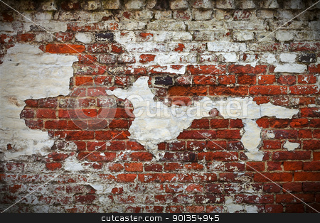 Grunge red brick wall texture stock photo, Grunge red brick wall texture with remaining plaster (stucco) by Mikhail Lavrenov