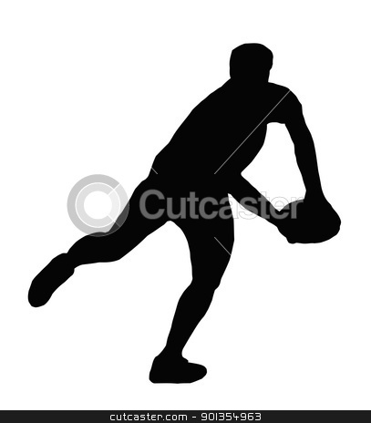 Sport Silhouette - Rugby Player Making Running Pass stock vector clipart, Sport Silhouette - Rugby Player Making Swinging Running Pass by Snap2Art