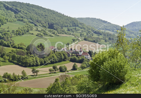 small village in Hohenlohe stock photo, high angle view of a idyllic small village in Hohenlohe (Southern Germany) by prill