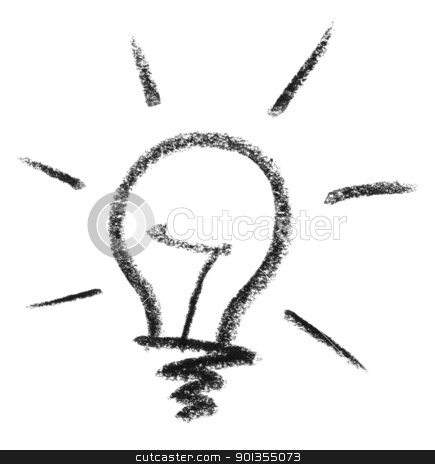light bulb sketch stock photo, crayon painted light bulb in white back by prill