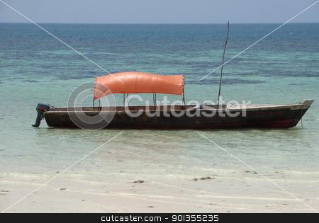 boat and clear sea in Zanzibar stock photo, small boat at the beach in Zanzibar (Africa) by prill