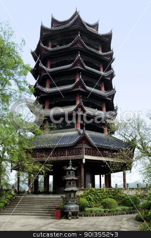 pagoda at Fengdu County stock photo, traditional temple building in a historic district named Fengdu County in China by prill