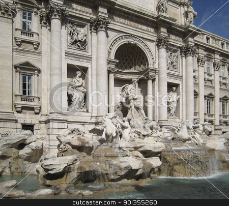 Fontana di Trevi in sunny ambiance stock photo, Fontana di Trevi in Rome (Italy) by prill