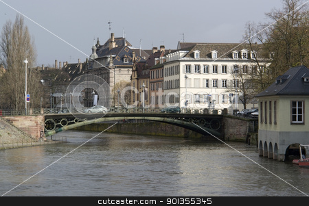 Strasbourg waterside stock photo, scenery in Strasbourg (Alsace/France) in rainy ambiance by prill