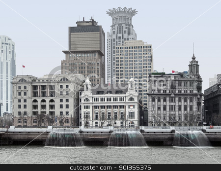 The Bund in Shanghai stock photo, city view of the Bund, an area of the Huangpu District in Shanghai, a city in China by prill