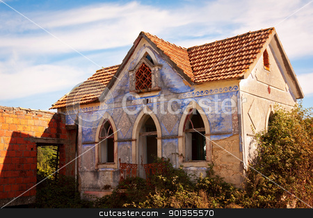 Abandoned Rural House  stock photo, Facade of abandoned rural house in a farm against landscape by Paulo M.F. Pires