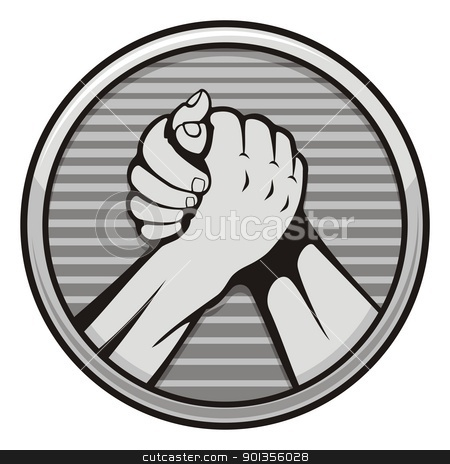 Arm wrestling icon stock vector clipart, Two hands icon in arm wrestling, gray round medal isolated on white background. by fractal.gr