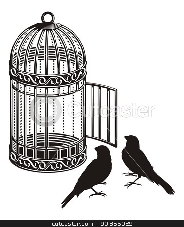 Bird cage stock vector clipart, Metallic bird cage with open door and two bird silhouettes. by fractal.gr