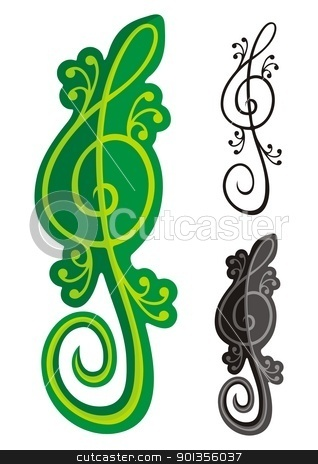 Lizards treble clef stock vector clipart, Treble clef shaped like a green lizard isolated on black background. by fractal.gr