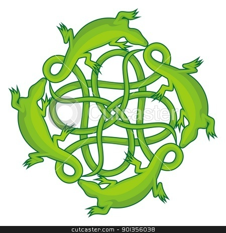 Lizards square knot stock vector clipart, Four green lizards forming a celtic square knot with their tails. by fractal.gr