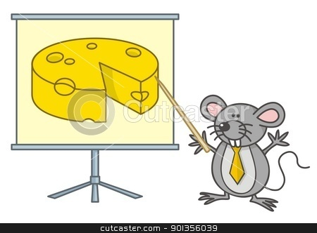 Mouse businessman stock vector clipart, Mouse businessman cartoon points yellow cheese on a board. by fractal.gr