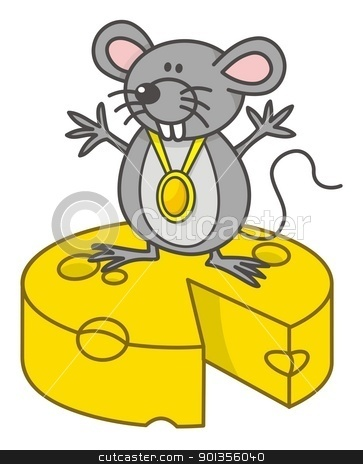 Mouse champion stock vector clipart, Mouse champion cartoon with medal standing on yellow cheese. by fractal.gr