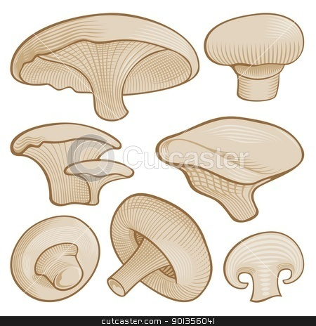 Woodcut mushrooms stock vector clipart, Beige mushroom icons with woodcut shading isolated on white background. by fractal.gr