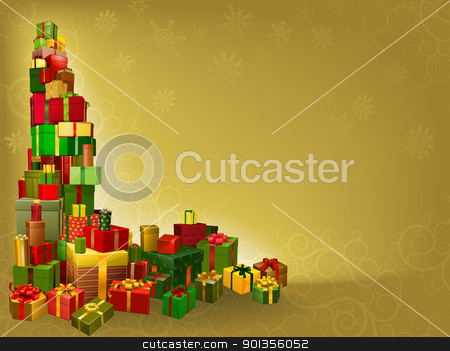 Gold Christmas gift background stock vector clipart, A gold Christmas background with gifts corner element by Christos Georghiou