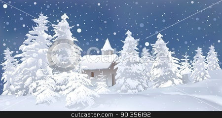 Winter Landscape stock photo, Winter Landscape - colored illustration by derocz