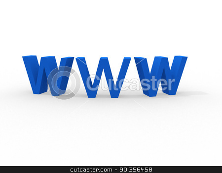 3d illustration of text 'www' in blue stock photo, 3d illustration of text 'www'  by dacasdo