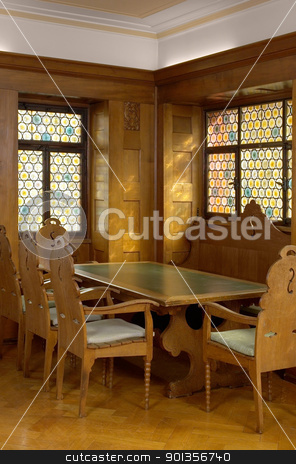inside a wood panelled room stock photo, detail of a old historic wood panelled roomand stained glass window  in Southern Germany by prill