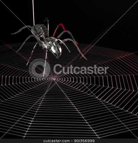 metal spider and web stock photo, simplified metallic spider and a painted cobweb red illuminated in black back by prill
