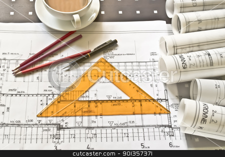 blueprints stock photo,  by vician