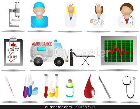 hospital and medical icons set stock vector clipart, hospital and medical icons set by vician