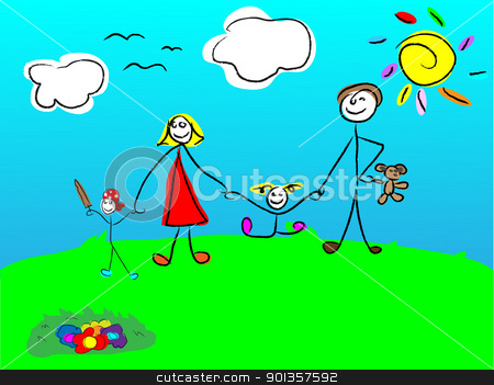 Child's drawing of the happy family stock vector clipart, Child's drawing of the happy family by vician