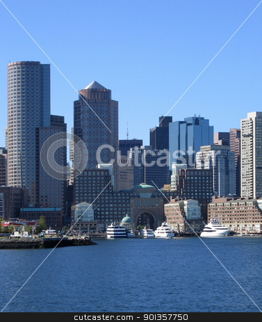 Boston skyline detail at summer time stock photo, waterside detail of the Boston skyline (USA) in front of clear blue sky by prill