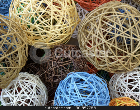 decorative wooden balls stock photo, full frame background showing decorative balls made of wooden stipes in various colors by prill