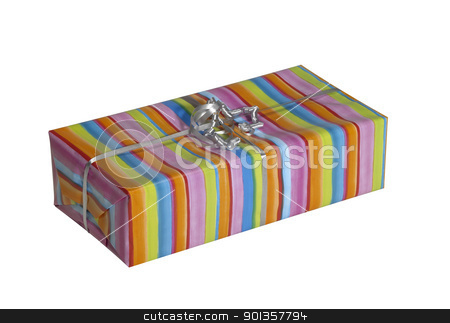 colorful gift pack stock photo, studio photography of a stripy present isolated on white, with clipping path by prill