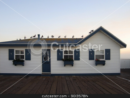 holiday home in San Diego stock photo, frontal facade of a idyllic holiday home in San Diego (USA) at evening time by prill