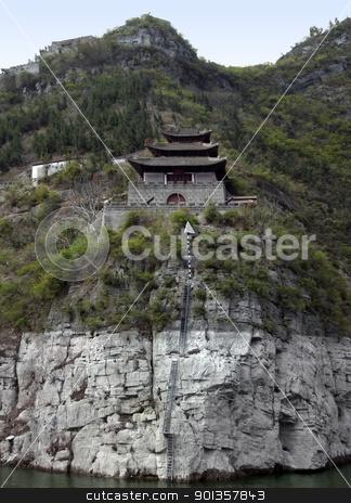 fortified building at Yangtze River stock photo, waterside scenery along the Yangtze River in China including a historic fortified building by prill