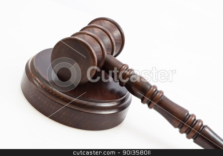 folded down lwooden judge gavel and stand stock photo, wooden judge gavel and wooden stand on a white background by ludinko