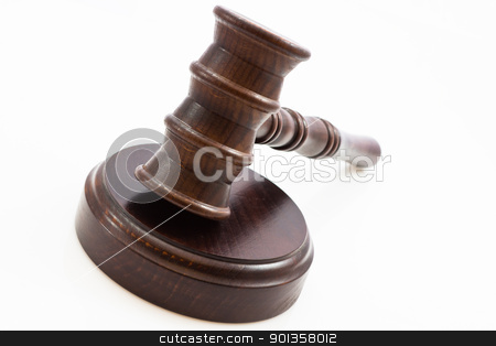 wooden judge gavel and wooden stand stock photo, wooden judge gavel and wooden stand on a white background by ludinko