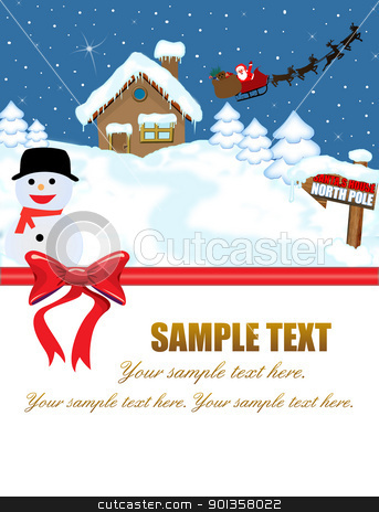 Santa's house and his sleigh stock vector clipart, Santa's house at North Pole and his sleigh with space for your text,vector illustration by radubalint