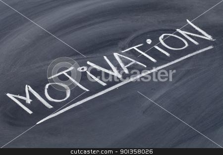motivation word on blackboard stock photo, motivation word in white chalk handwriting on blackboard by Marek Uliasz