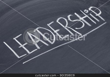 leadership word on blackboard stock photo, leadership word in white chalk handwriting on blackboard by Marek Uliasz
