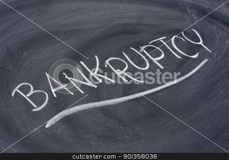 bankruptcy word on blackboard stock photo, bankruptcy word in white chalk handwriting on blackboard by Marek Uliasz