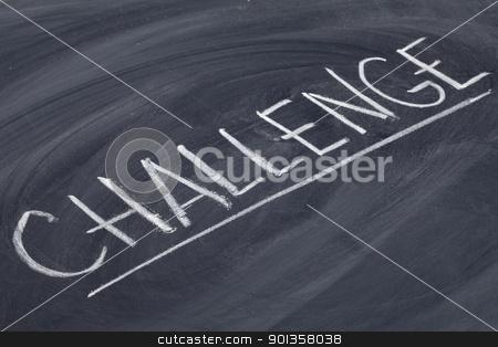 challenge word on blackboard stock photo, challenge word in white chalk handwriting on blackboard by Marek Uliasz